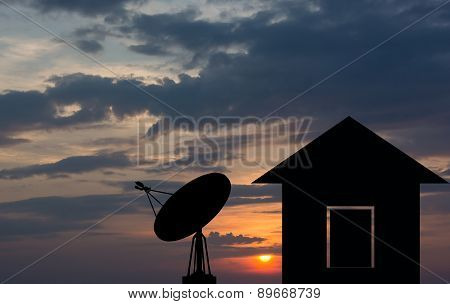 Shadow Home With A Satellite Dish