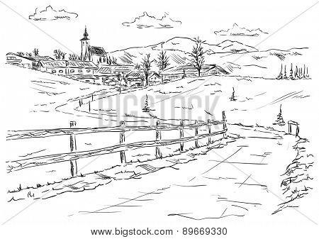 vector - village Golling an der Salzach - Torren, under the foot of the mountains Alpy , Europe,Austria