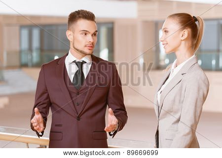 Portrait of businessman and businesswoman