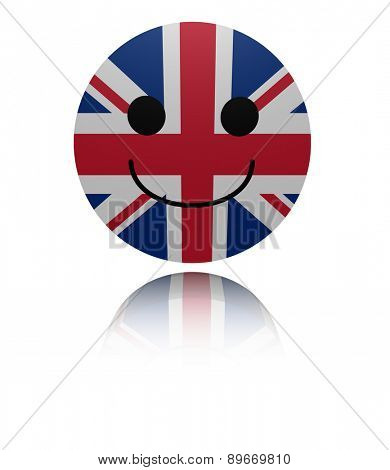 UK happy icon with reflection illustration