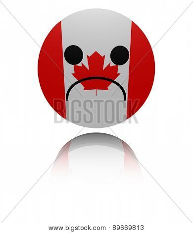 Canada flag sad icon with reflection illustration