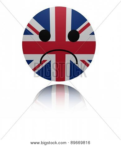 UK flag sad icon with reflection illustration