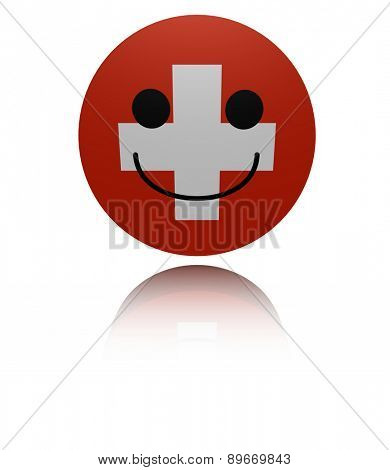 Switzerland happy icon with reflection illustration
