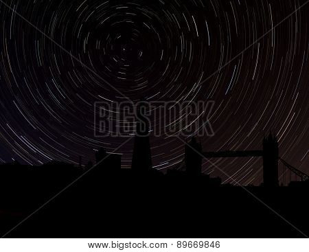 London skyline silhouette with star trails illustration