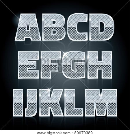 Vector silver steel stamped alphabet. Diamond letters