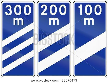 Highway Countdown Markers In Poland