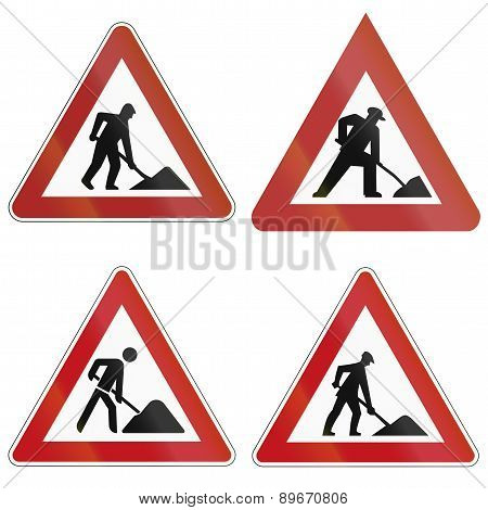 Roadworks Signs In Germany