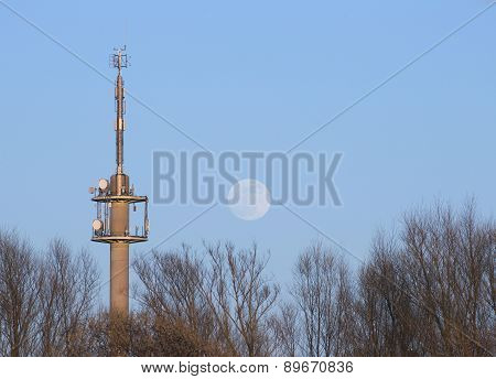 Radio Tower With Moon