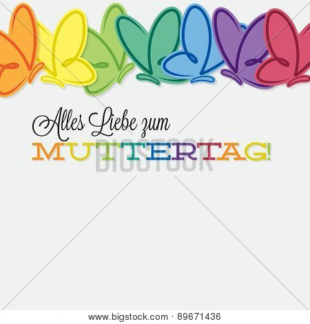 German Line Of Butterflies Mother's Day Card In Vector Format.