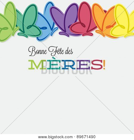 French Line Of Butterflies Mother's Day Card In Vector Format.