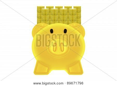 Golden Piggy Bank And Gold Coins.