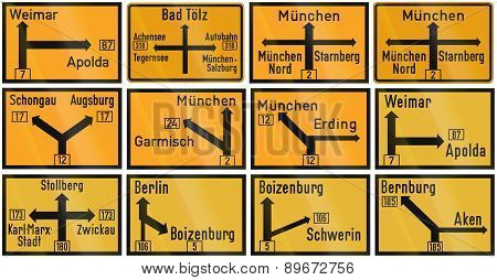 Historic Direction Signs In Germany