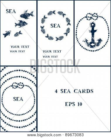 Navy blue and white sponge print style grunge illustration of an anchor, fishes and marine knots and