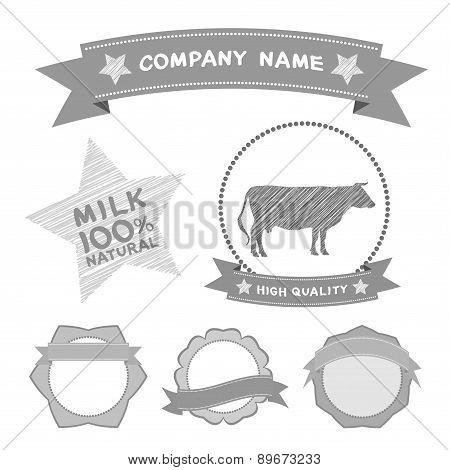 Butcher Shop Labels And Design Elements Farm, Cow Milk Diagram And Design Elements In Vintage Style.