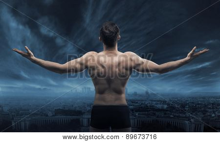 Triumphant athlete man