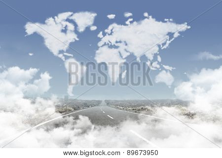 Road in clouds leading to clouds world map