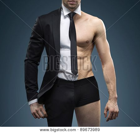 Athlete businessman showing his internal strength