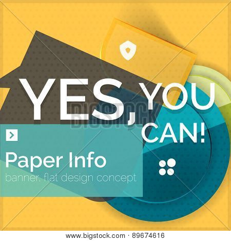 Flat design square banner with slogan. Geometric abstract elements with text