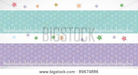 Children Height Meter Wall Sticker Set Lilac Blue. Set Stiker With Stars. Vector