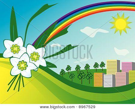 The sun and a rainbow over the city
