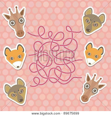 Funny Giraffe, Fox, Wolf Labyrinth Game For Preschool Children. Vector