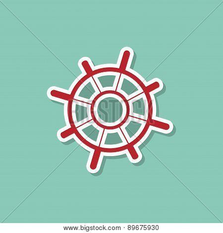 Helm Marine Ship On A Blue Background. Modern Style Flat. Vector