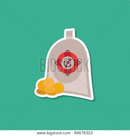 Pirate Treasure Bag Of Gold Coins On Blue Background. Modern Style Flat. Vector