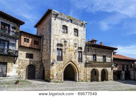 Typical Architecture In Santillana Del Mar, A Famous Historic Town, Spain.