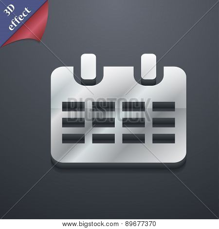 Calendar, Date Or Event Reminder  Icon Symbol. 3D Style. Trendy, Modern Design With Space For Your T