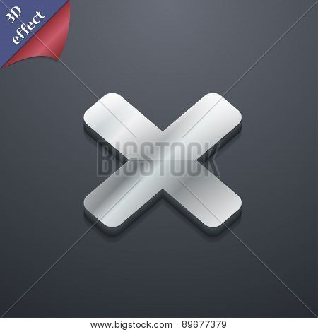 Cancel, Multiplication Icon Symbol. 3D Style. Trendy, Modern Design With Space For Your Text Vector