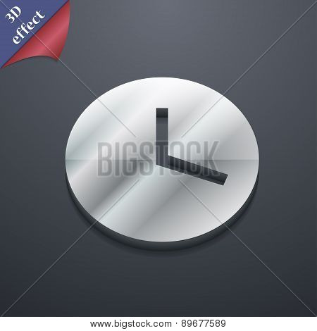 Mechanical Clock  Icon Symbol. 3D Style. Trendy, Modern Design With Space For Your Text Vector