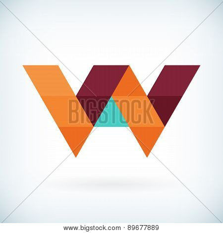 Modern Letter W Icon Flat Design Element Template