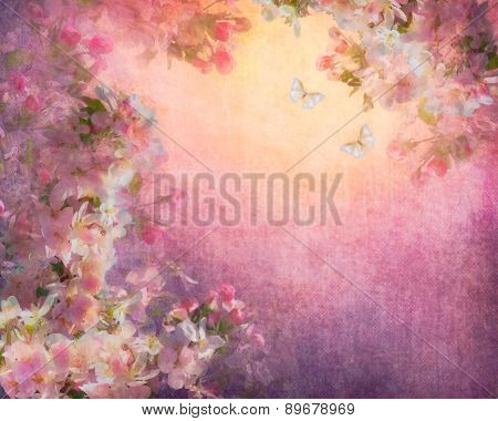 Cherry Blossoms Illustration on Canvas