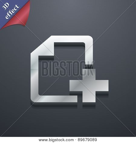 Add File Document Icon Symbol. 3D Style. Trendy, Modern Design With Space For Your Text Vector