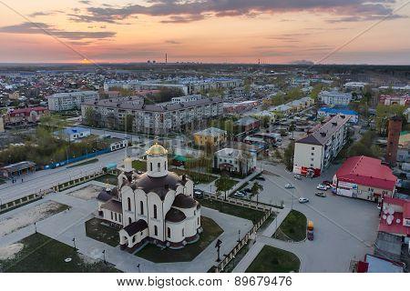 Aerial view on Saint Nicholas church in Borovskiy