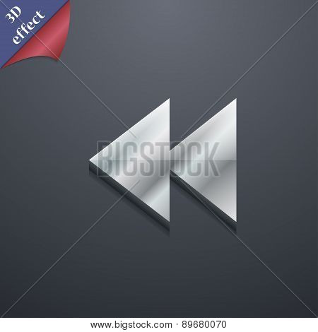 Rewind Icon Symbol. 3D Style. Trendy, Modern Design With Space For Your Text Vector
