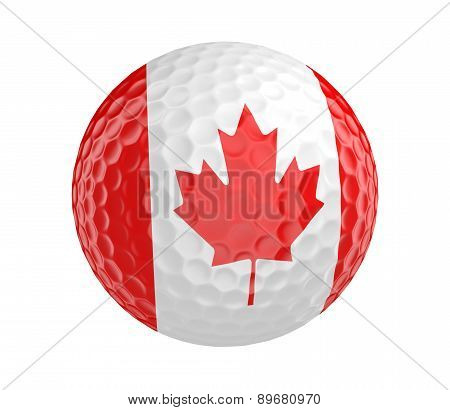 Golf ball 3D render with flag of Canada, isolated on white