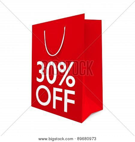 Red paper shopping bag for a 30 percent off sale