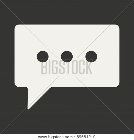 Flat in black and white mobile application message think