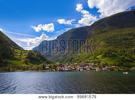 Village in Fjord Naeroyfjord - Norway - nature and travel background