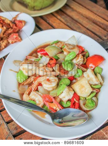 Fried Shrimp With Red Chillies,tomatoes And Stinky Beans