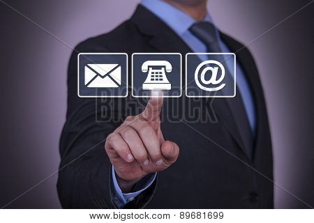 Businessman Touching Contact Us Concept
