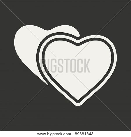 Flat in black and white mobile application hearts