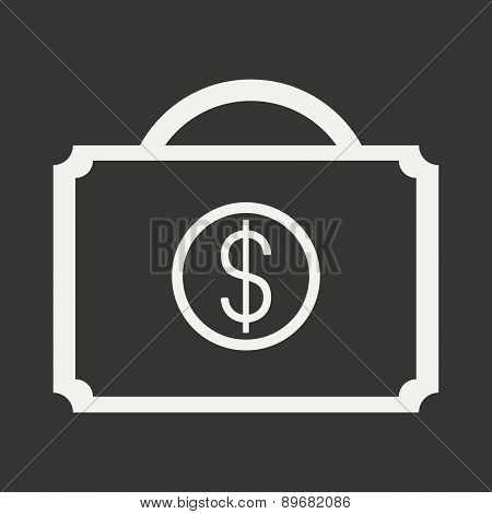 Flat in black and white mobile application case money