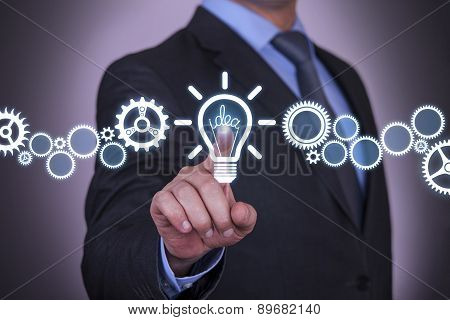 Businessman Touching Idea Concept