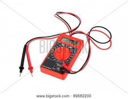 Electric multimeter isolated on white background