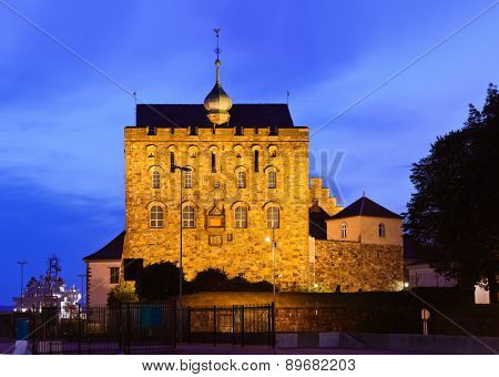Old fortress in Bergen Norway - architecture background