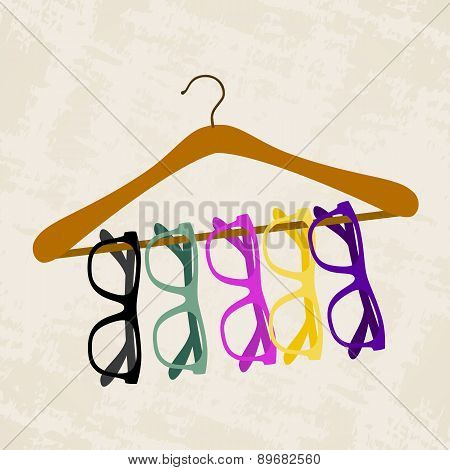 Hipster Glasses On A Hanger For Clothes
