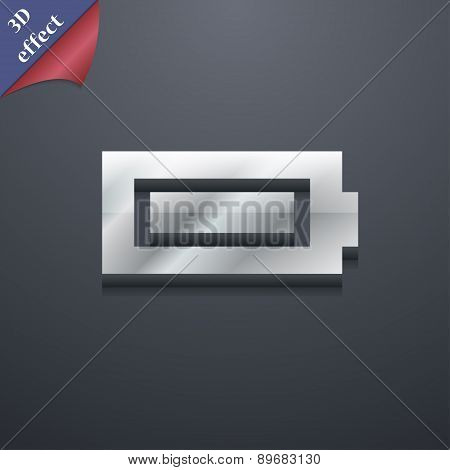Battery Fully Charged Icon Symbol. 3D Style. Trendy, Modern Design With Space For Your Text Vector