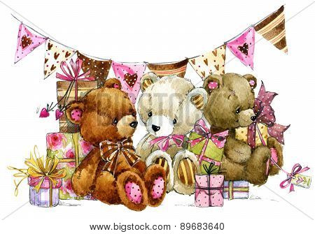 Teddy bear.Toy background for kids Birthday